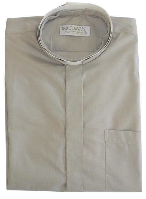 Camisa Clerical Romana Manga Corta Gris CR167