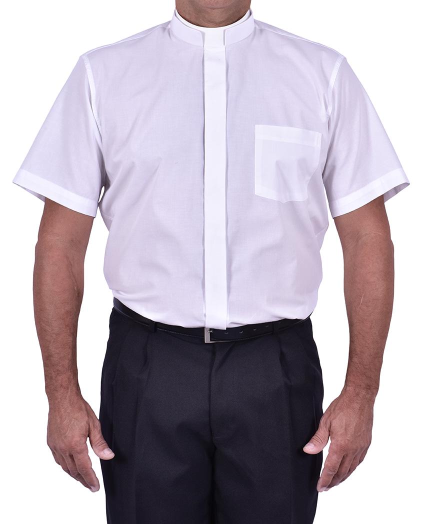 Camisa Clerical Romana Manga Corta Blanca CR167