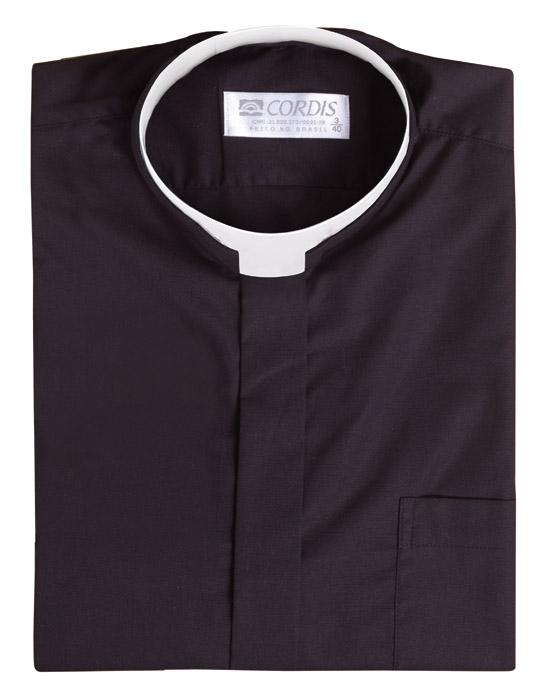 Camisa Clerical Romana Manga Corta Negro CR167