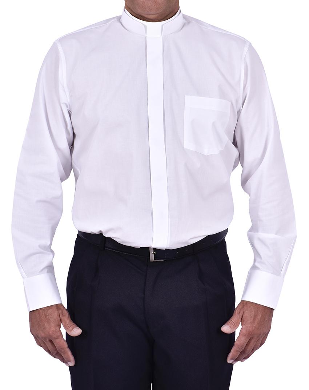 Camisa Clerical Romana Manga Larga Blanco CR168