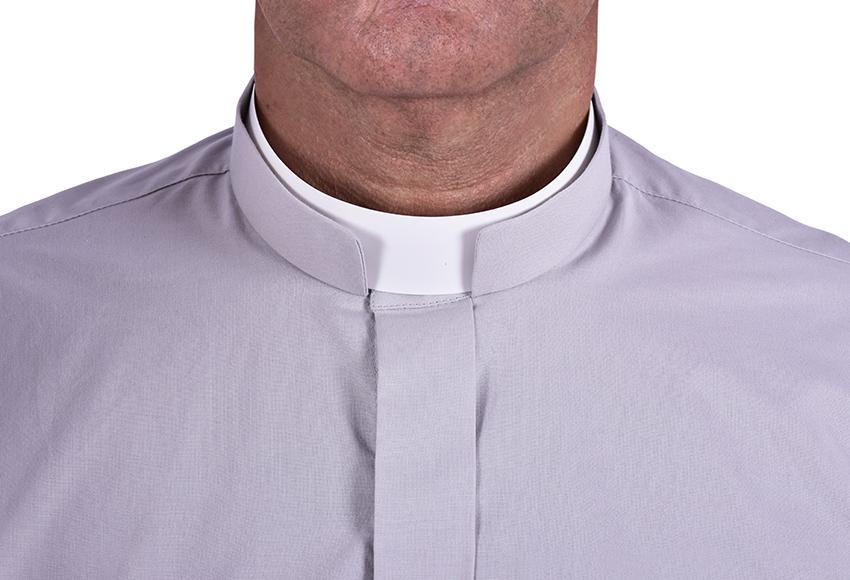Camisa Clerical Romana Manga Larga Gris CR168