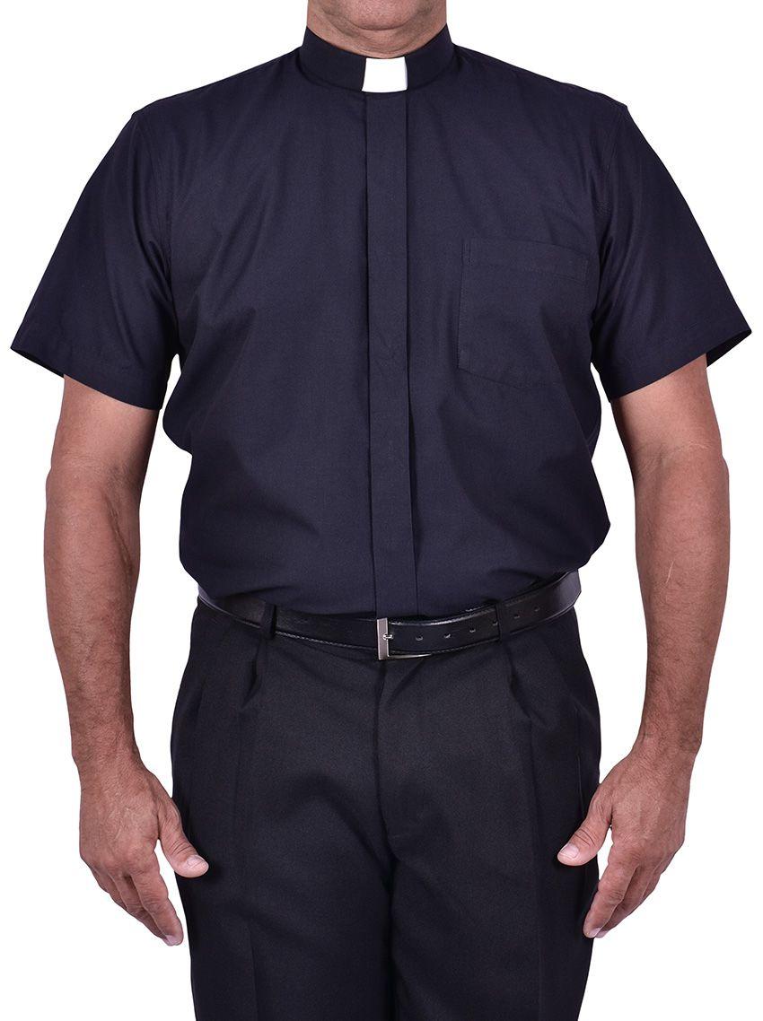 Camisa Clerical Tradicional Manga Corta Negro CT067