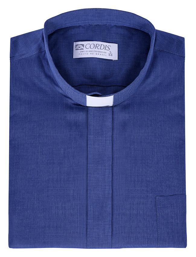 Camisa Clerical Tradicional Manga Corta Azul Mezcla CT067