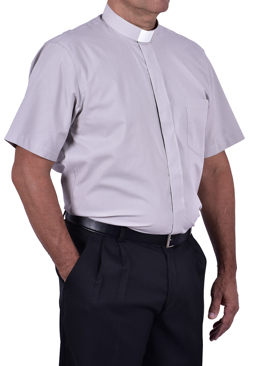 Camisa Clerical Tradicional Manga Corta Gris CT067