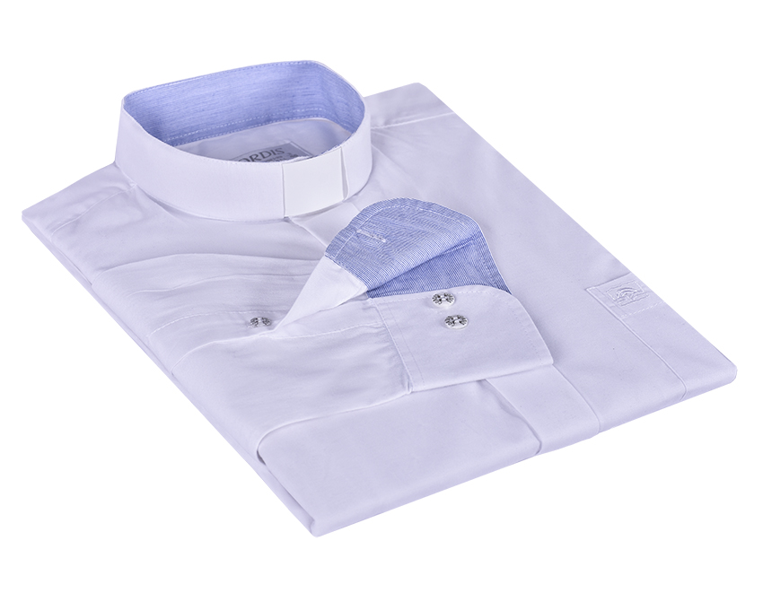 Camisa Clerical Tradicional Manga Larga con detalle Blanco