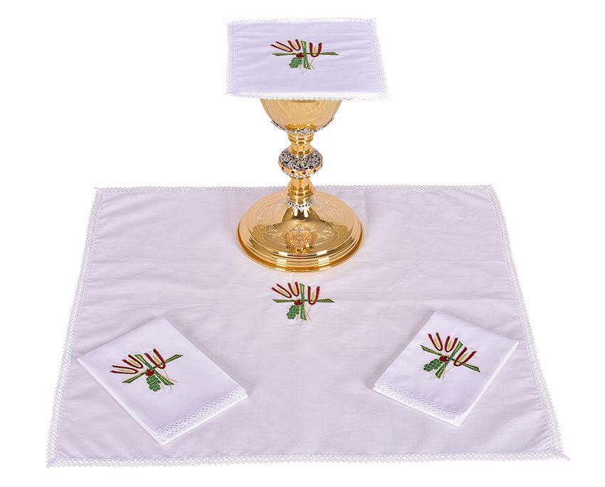 Conjunto Paños de Altar Algodón Trigo Cruz y Uva B007