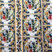 Tecido Cetim Gloss Estampado Floral Amarelo/Vermelho/Azul