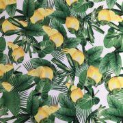 Tecido Cetim Italiano Estampado Verde/Amarelo/Branco