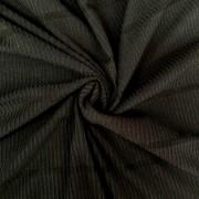 Tecido Malha Cotele Canelada 96%Poliéster 4%Elastano Preto