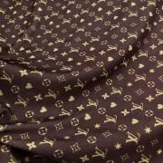 Tecido Malha Slinky Estampado 92%Poliéster 8%Elastano Louis Vuitton Marrom