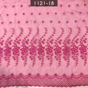 Tecido Organza Bordada infantil Pink