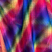 Tecido Organza Cristal Estampada Sereia Arco-iris
