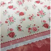 Tecido Plástico Térmico Estampa Floral Vermelho