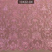 Tecido Renda Bordada Arabesco Rosa