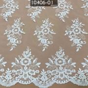 Tecido Renda Bordada Em Linhas Branco