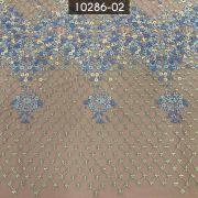 Tecido Renda Bordada em Pedraria Azul/Nude