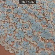 Tecido Renda Floral 3D Azul Bebe