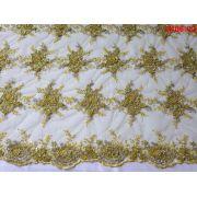 Tecido Renda Floral Bordada em Pedraria Amarelo
