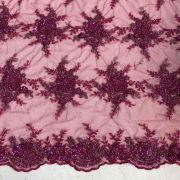 Tecido Renda Floral Bordada em Pedraria Pink