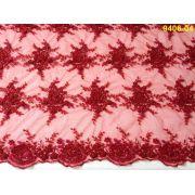 Tecido Renda Floral Bordada em Pedraria Vermelho