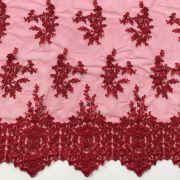 Tecido Renda Floral Vermelho