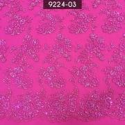 Tecido Renda Tule Bordado Pink