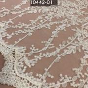 Tecido Renda Tule Floral Bordada Em Linhas Branco
