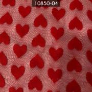Tecido Tule Coração Vermelho