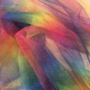 Tecido Tule Gliter Brilho Arco-iris Arco-iris