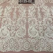Tecido Tule Renda Bordada Em Linhas Off White