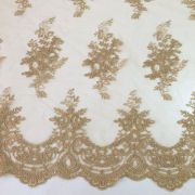 Tecido Tule Renda Bordada Ouro