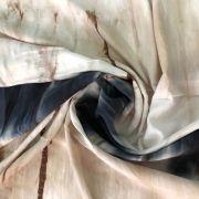 Tecido Viscose Estampada 100% Viscose Tie Dye - Marinho / Bege