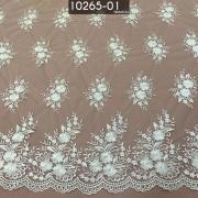 Tecidos Renda Tule Floral Bordado Em Linhas Branco