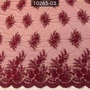 Tecidos Renda Tule Floral Bordado Em Linhas Marsala