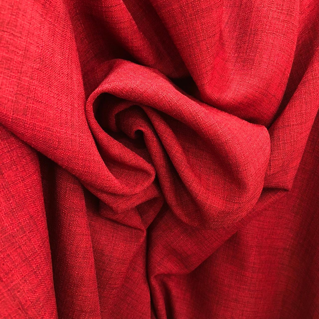 Tecido Linho Alfaiataria 100% Poliéster Vermelho