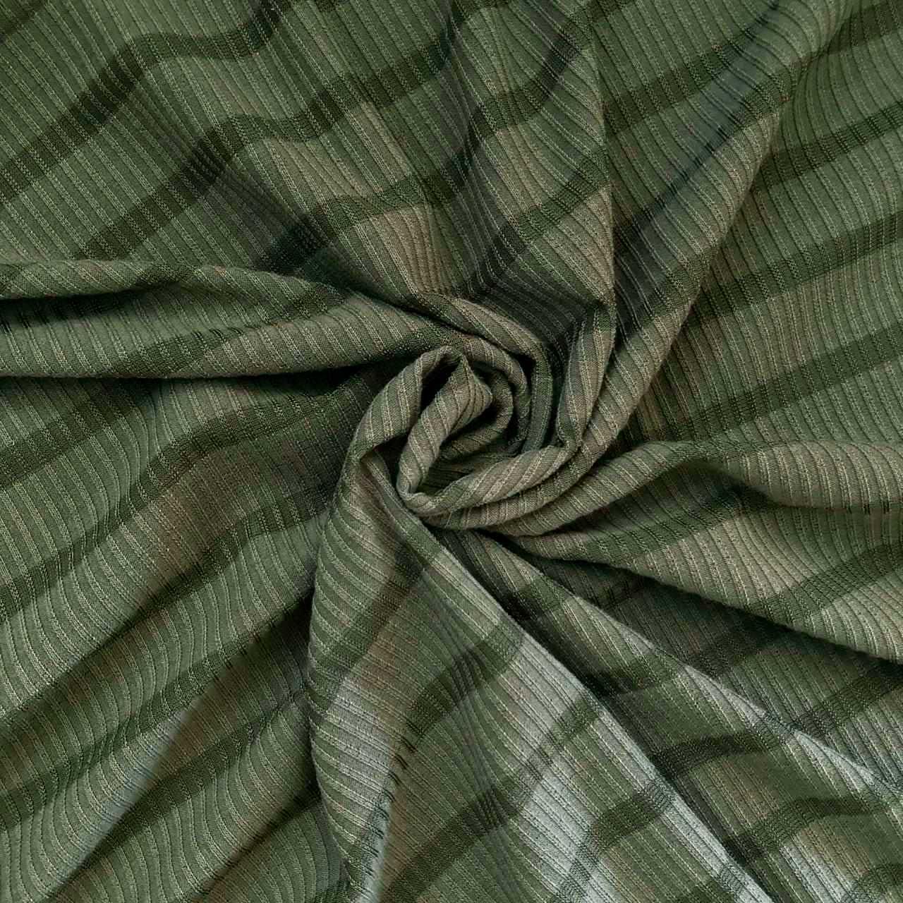 Tecido Malha Cotele Canelada 96%Poliéster 4%Elastano Verde