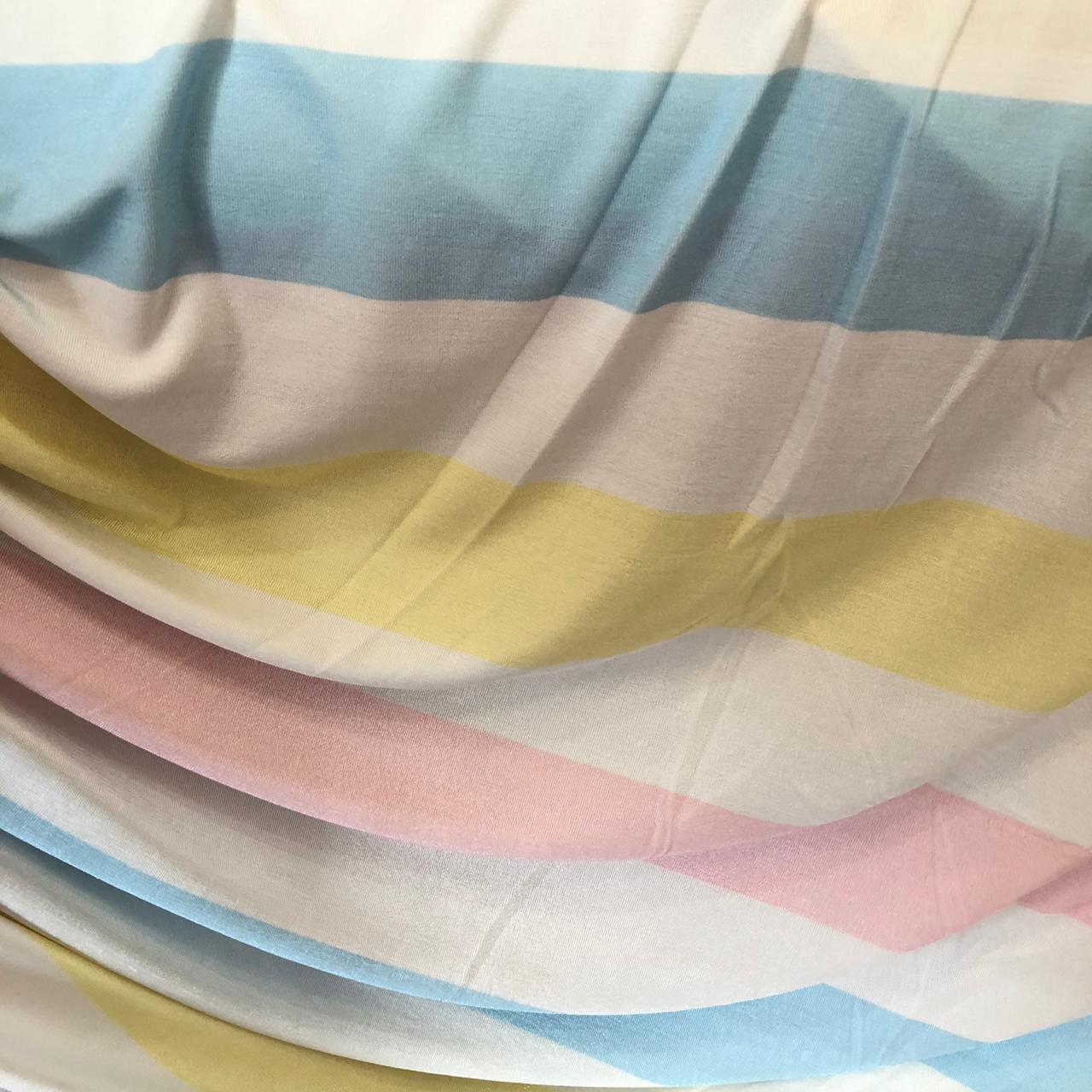 Tecido Malha Slinky Estampado 92%Poliéster 8%Elastano Listra Color