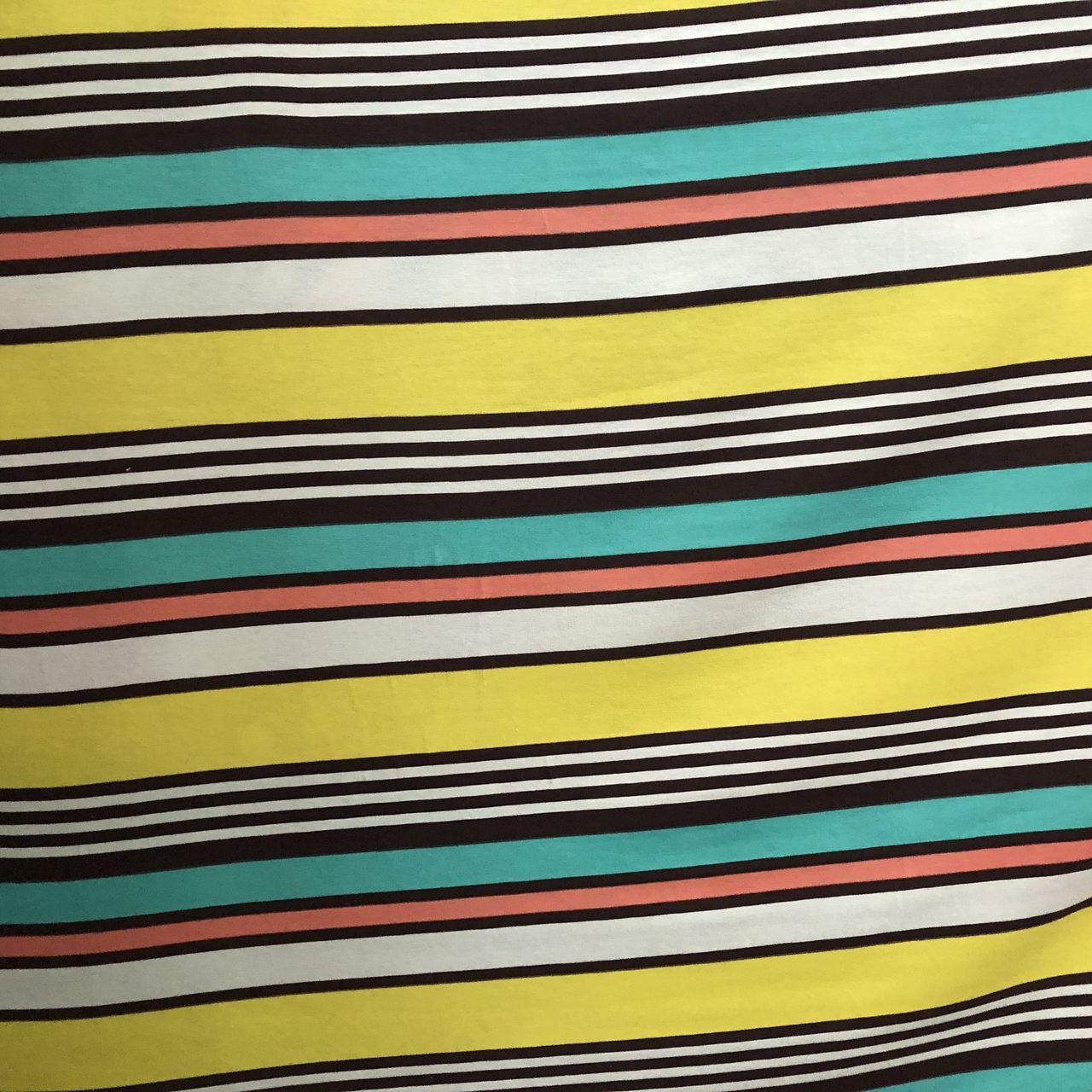 Tecido Malha Viscolycra  95%Viscose 5%Elastano Listrada Amarela/Verde/Rosa/Banca