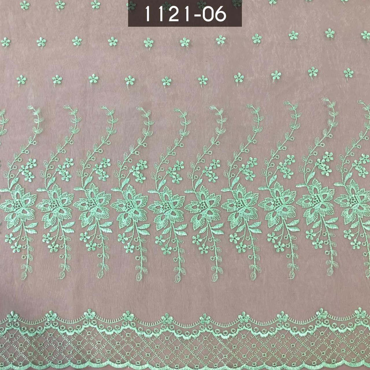 Tecido Organza Bordada infantil 1121 Verde