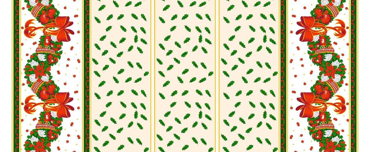 Tecido Oxford Natalino Ouro/Verde/Vermelho