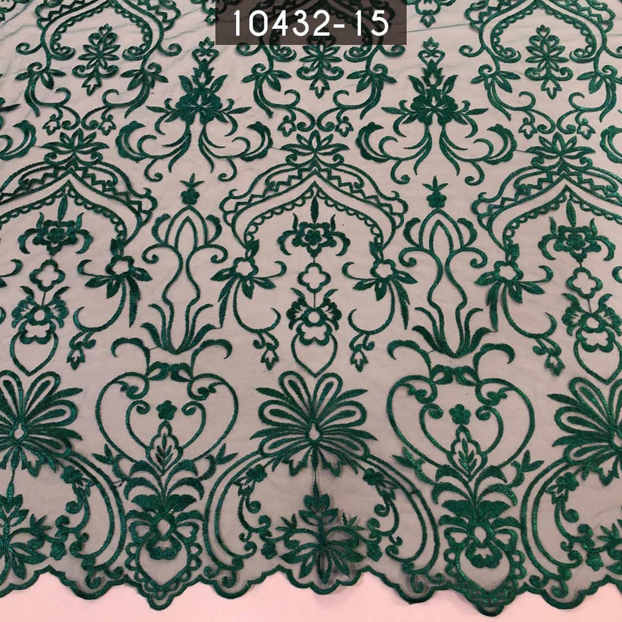 Tecido Renda Bordada Arabesco Verde Bandeira