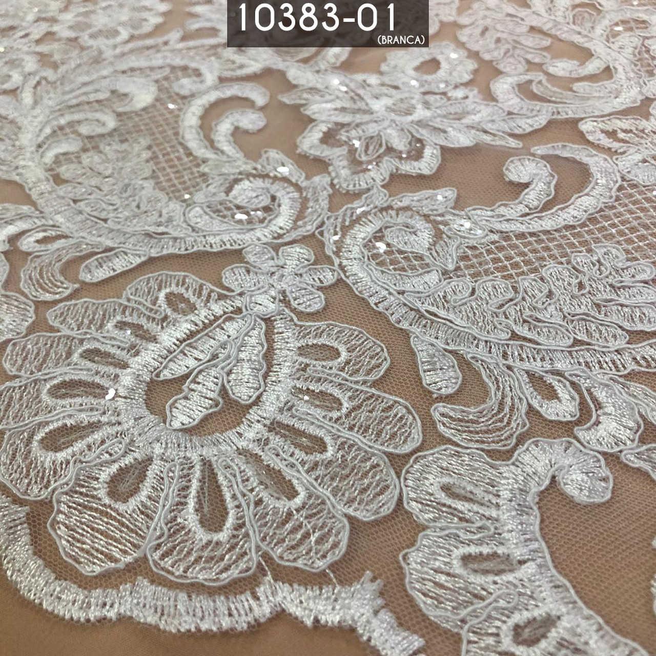 Tecido Renda Bordada Em Linhas Floral C/ Paetê Branco