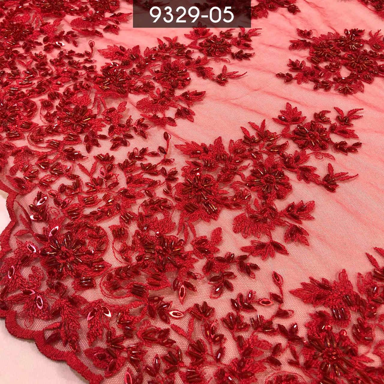 Tecido Renda Bordada Vermelha