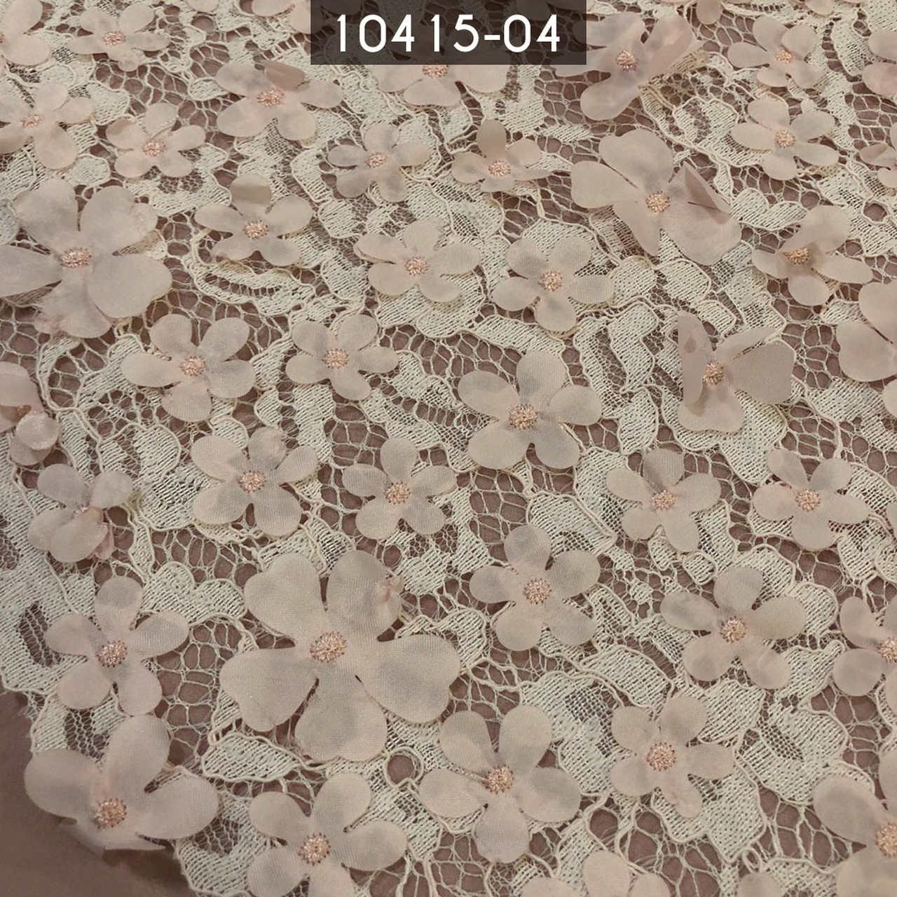 Tecido Renda Floral 3D Salmão