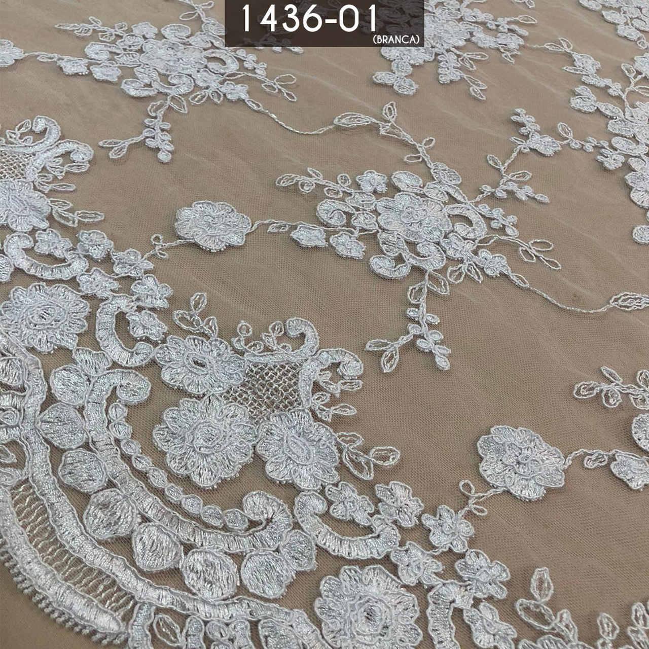 Tecido Renda Floral Branco