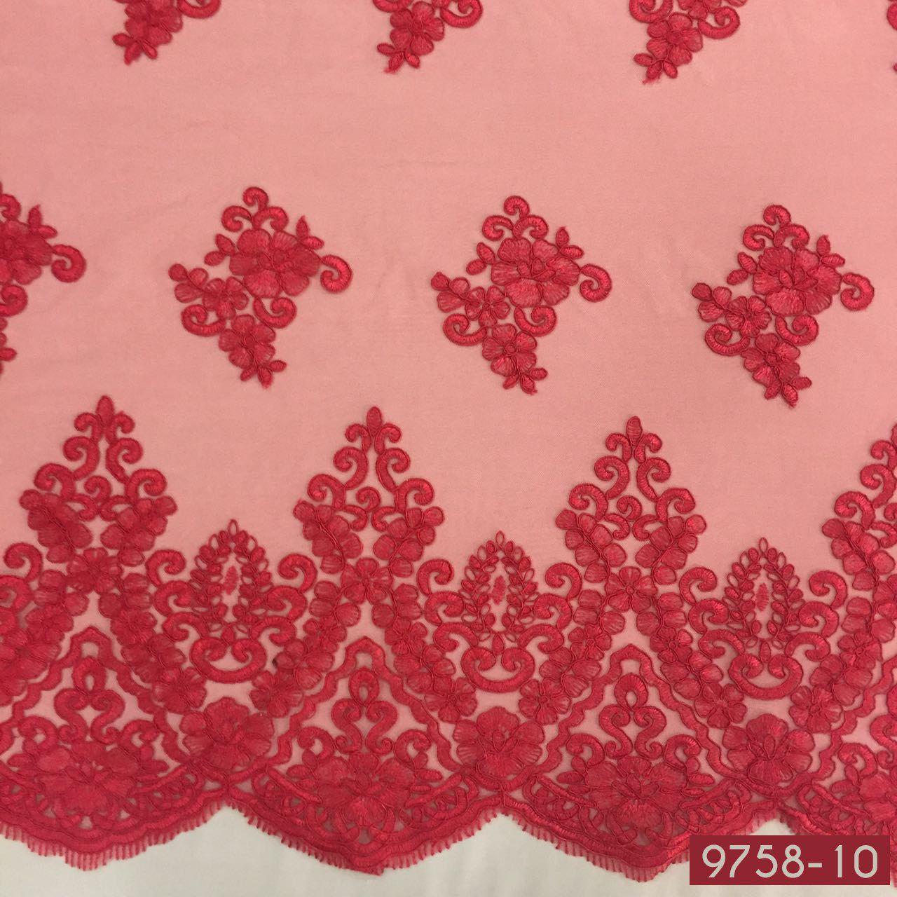 Tecido Renda Floral Sultache Vermelho
