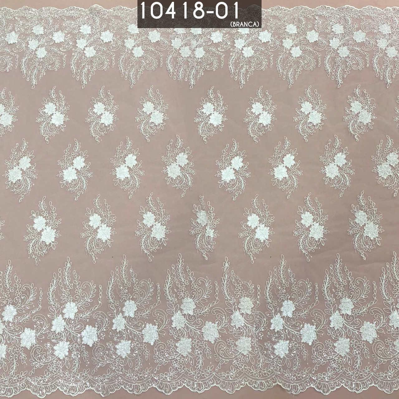 Tecido Renda Tule Sultache Com Paete Branco
