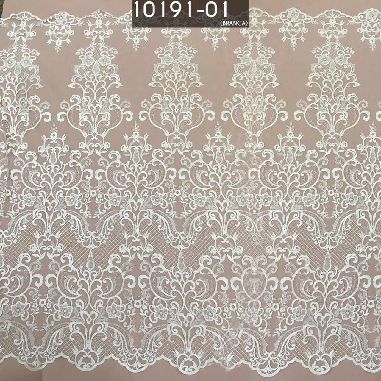 Tecido Renda Tule Arabesco Bordado Em Linhas Branco