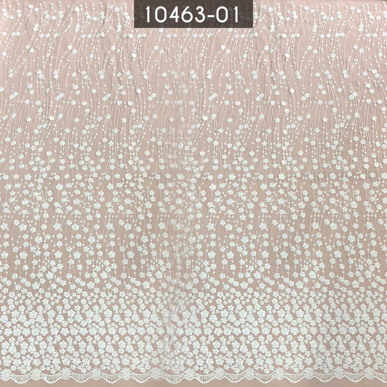 Tecido Renda Tule Bordada Floral Em Pedraria Branco