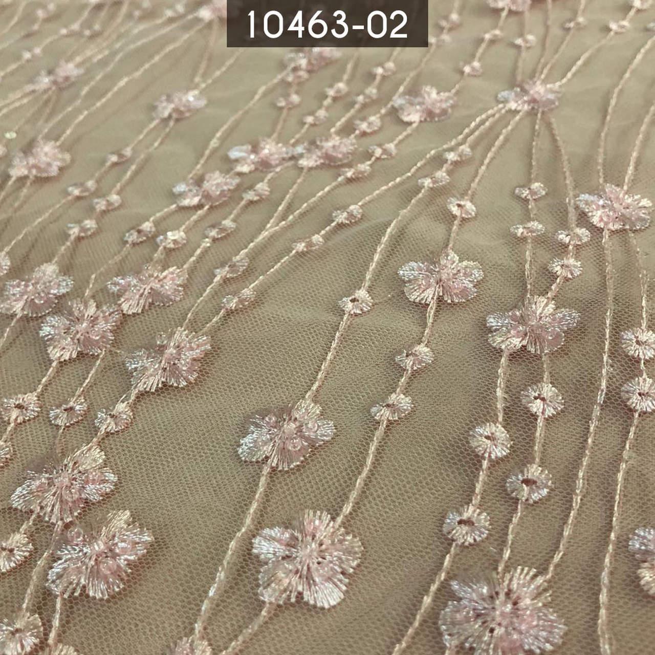 Tecido Renda Tule Bordada Floral Em Pedraria Nude